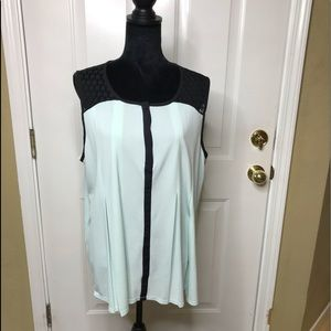 Elle Mint Green and Black Lace Short Sleeve Blouse